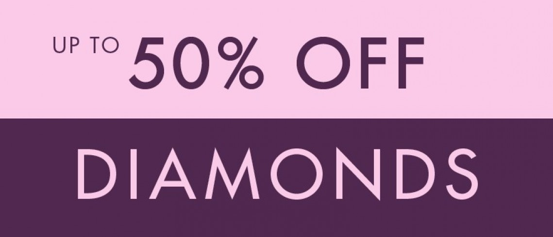 Up to 50% off diamonds at F. Hinds!